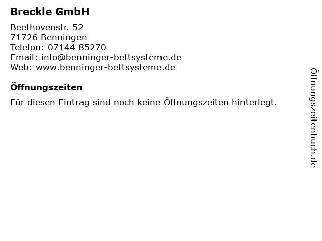 Breckle GmbH in Benningen: Adresse und Öffnungszeiten