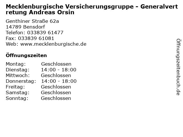 Mecklenburgische Versicherungsgruppe - Generalvertretung Andreas Orsin in Bensdorf: Adresse und Öffnungszeiten