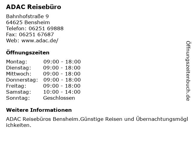 ADAC Reisebüro in Bensheim: Adresse und Öffnungszeiten