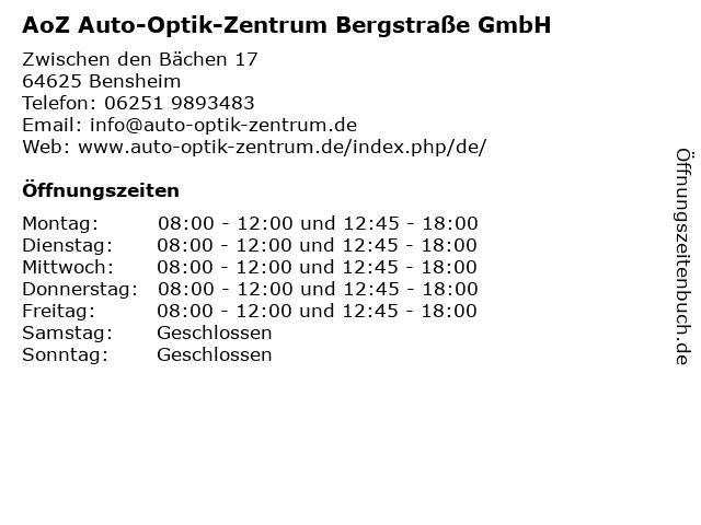 Auto-Optik-Zentrum in Bensheim: Adresse und Öffnungszeiten