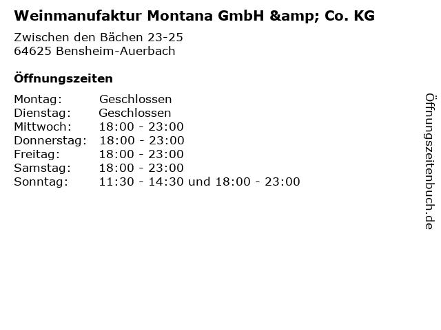 Weinmanufaktur Montana GmbH & Co. KG in Bensheim-Auerbach: Adresse und Öffnungszeiten