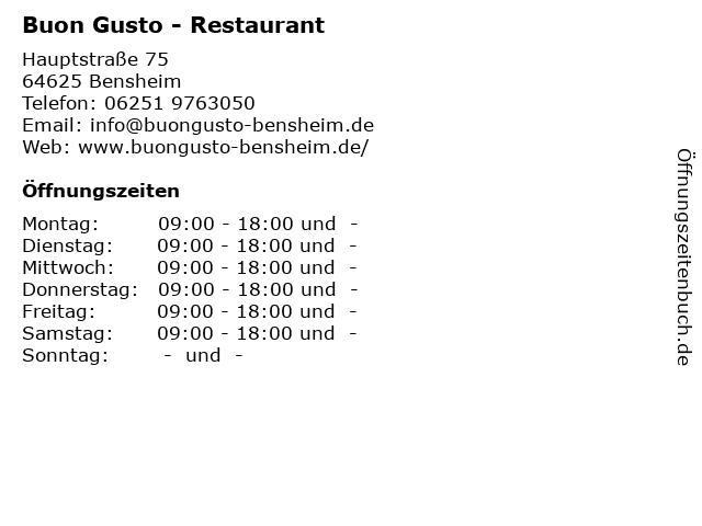 Buon Gusto - Restaurant in Bensheim: Adresse und Öffnungszeiten