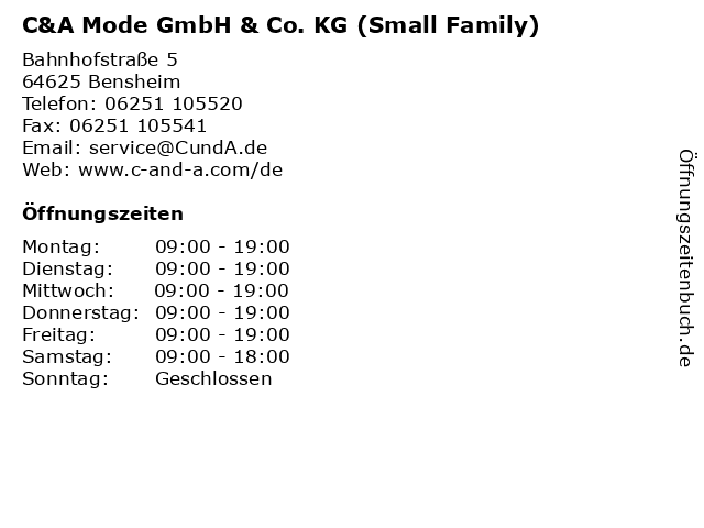 C&A Mode GmbH & Co. KG (Small Family) in Bensheim: Adresse und Öffnungszeiten