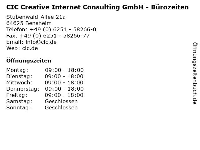 CIC Creative Internet Consulting GmbH - Bürozeiten in Bensheim: Adresse und Öffnungszeiten