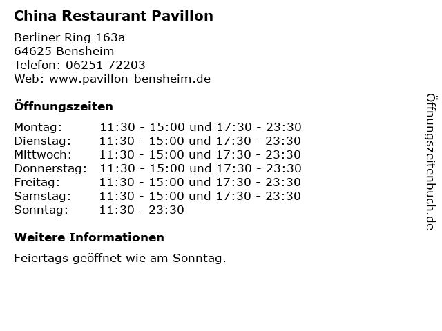 China Restaurant Pavillon in Bensheim: Adresse und Öffnungszeiten