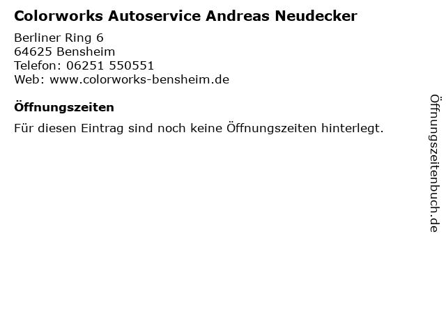 Colorworks Autoservice Andreas Neudecker in Bensheim: Adresse und Öffnungszeiten