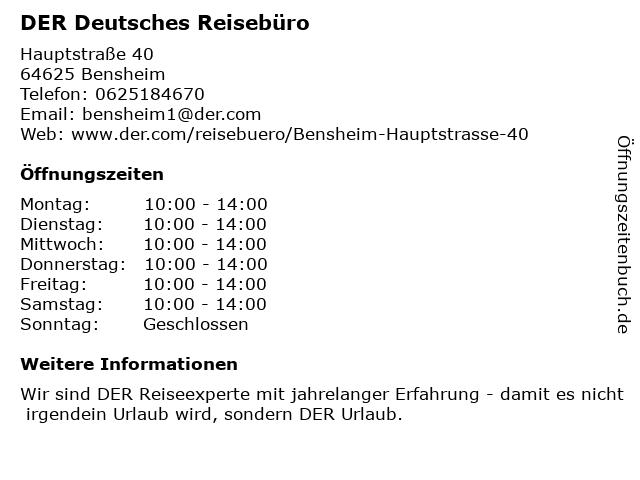 DER Deutsches Reisebüro in Bensheim: Adresse und Öffnungszeiten