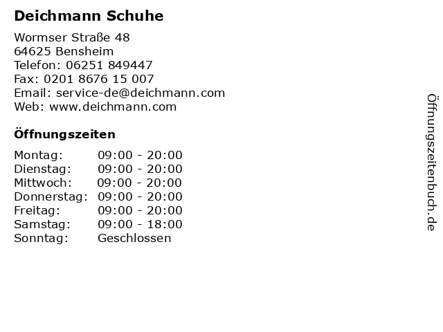 Deichmann Schuhe in Bensheim: Adresse und Öffnungszeiten