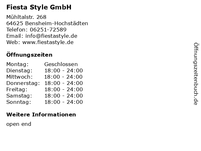 Fiesta Style GmbH in Bensheim-Hochstädten: Adresse und Öffnungszeiten