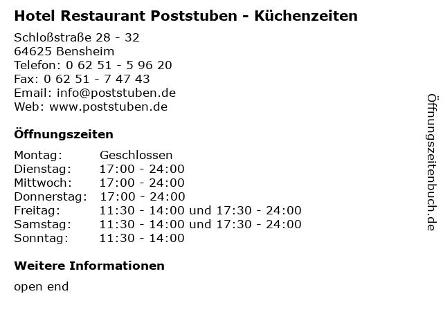 Hotel Restaurant Poststuben - Küchenzeiten in Bensheim: Adresse und Öffnungszeiten