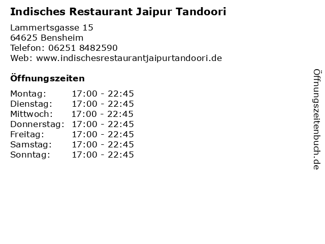 Indisches Restaurant Jaipur Tandoori in Bensheim: Adresse und Öffnungszeiten