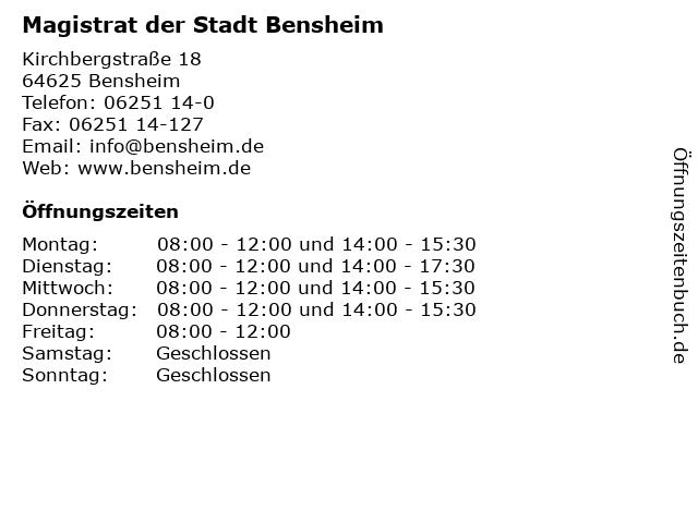 Magistrat der Stadt Bensheim in Bensheim: Adresse und Öffnungszeiten