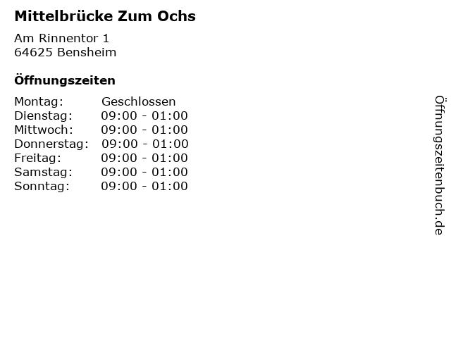 Mittelbrücke Zum Ochs in Bensheim: Adresse und Öffnungszeiten