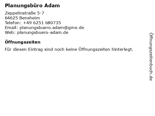 Planungsbüro Adam in Bensheim: Adresse und Öffnungszeiten