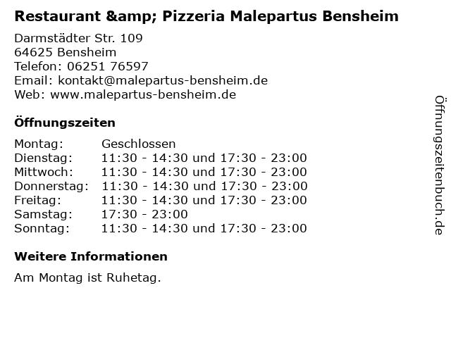 Restaurant & Pizzeria Malepartus Bensheim in Bensheim: Adresse und Öffnungszeiten