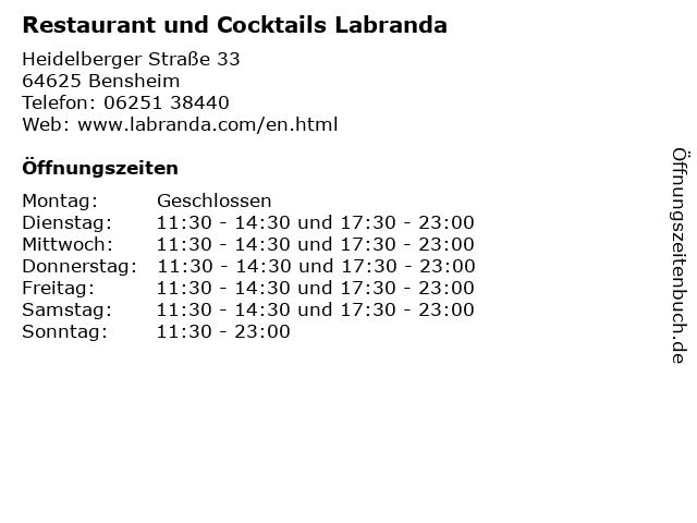 Restaurant und Cocktails Labranda in Bensheim: Adresse und Öffnungszeiten