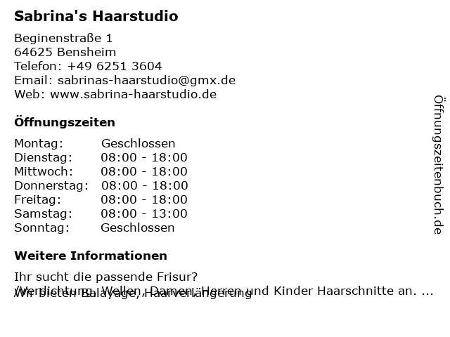 Sabrina's Haarstudio in Bensheim: Adresse und Öffnungszeiten