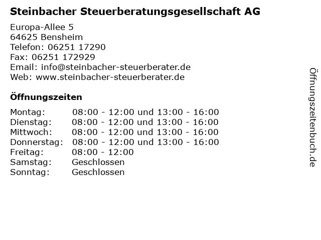 Steinbacher Steuerberatungsgesellschaft AG in Bensheim: Adresse und Öffnungszeiten