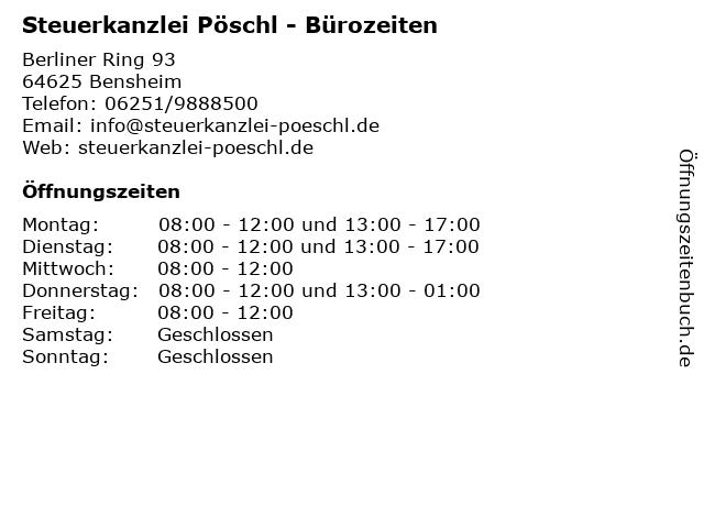 Steuerkanzlei Pöschl - Bürozeiten in Bensheim: Adresse und Öffnungszeiten