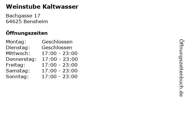 Weinstube Kaltwasser in Bensheim: Adresse und Öffnungszeiten