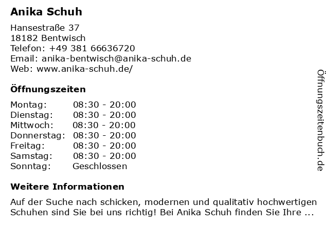 Anika Schuh in Bentwisch: Adresse und Öffnungszeiten