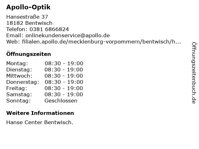 Apollo-Optik Holding GmbH & Co. KG in Bentwisch: Adresse und Öffnungszeiten