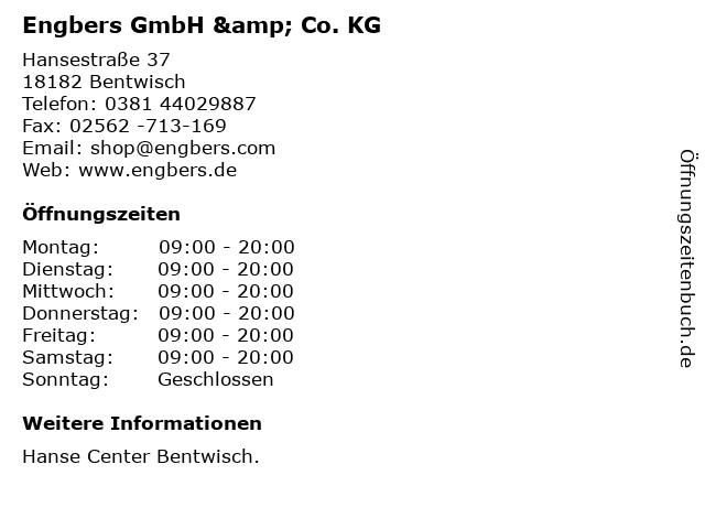 Engbers GmbH & Co. KG in Bentwisch: Adresse und Öffnungszeiten