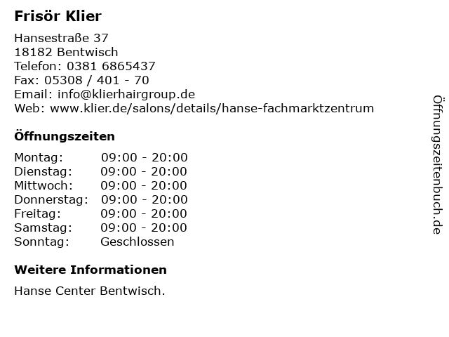 Frisör Klier GmbH in Bentwisch: Adresse und Öffnungszeiten