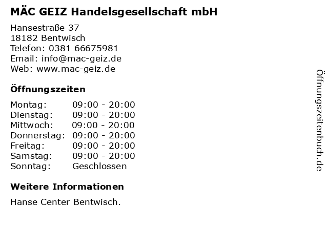 MÄC GEIZ Handelsgesellschaft mbH in Bentwisch: Adresse und Öffnungszeiten