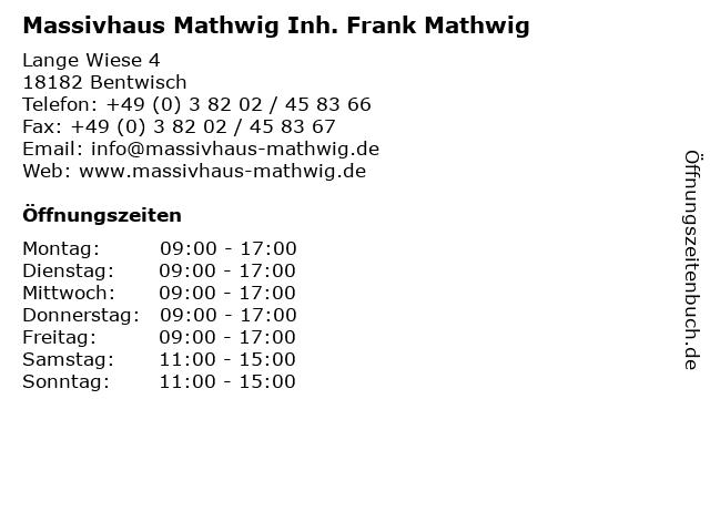 Massivhaus Mathwig Inh. Frank Mathwig in Bentwisch: Adresse und Öffnungszeiten