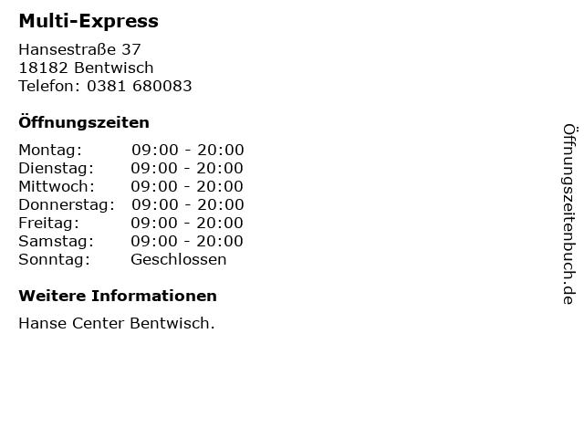 Multi-Express in Bentwisch: Adresse und Öffnungszeiten