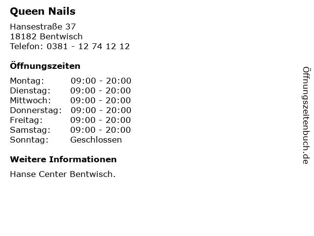 Queen Nails in Bentwisch: Adresse und Öffnungszeiten
