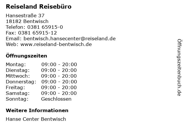 Reiseland Reisebüro in Bentwisch: Adresse und Öffnungszeiten