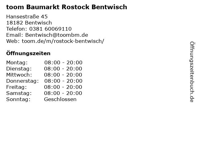 toom Baumarkt Bentwisch in Bentwisch: Adresse und Öffnungszeiten