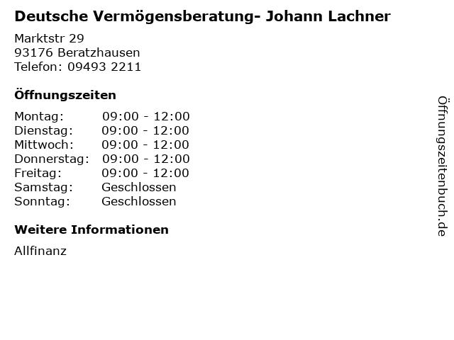 Deutsche Vermögensberatung- Johann Lachner in Beratzhausen: Adresse und Öffnungszeiten