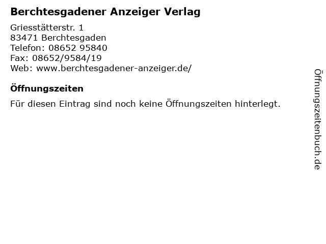 Berchtesgadener Anzeiger Verlag in Berchtesgaden: Adresse und Öffnungszeiten
