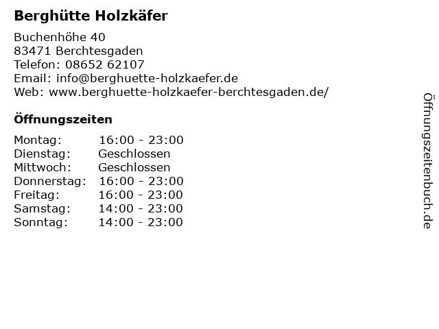 Berghütte Holzkäfer in Berchtesgaden: Adresse und Öffnungszeiten