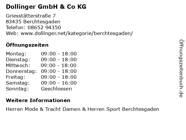 Dollinger GmbH & Co KG in Berchtesgaden: Adresse und Öffnungszeiten