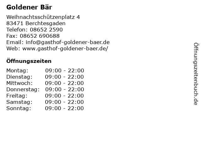 Goldener Bär in Berchtesgaden: Adresse und Öffnungszeiten