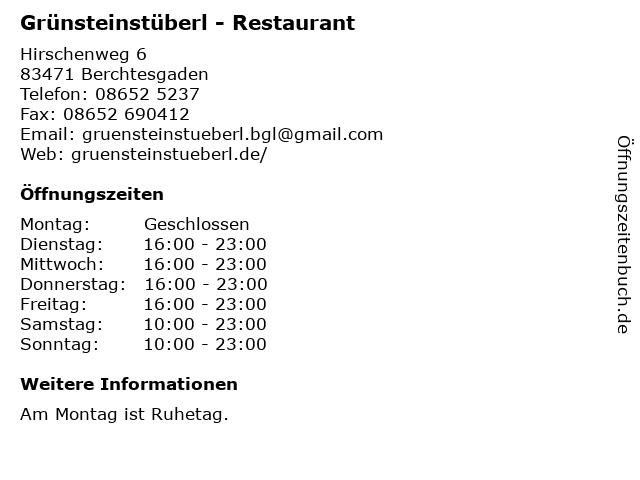 Grünsteinstüberl - Restaurant in Berchtesgaden: Adresse und Öffnungszeiten