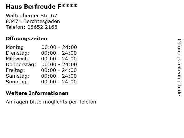 Haus Berfreude F**** in Berchtesgaden: Adresse und Öffnungszeiten