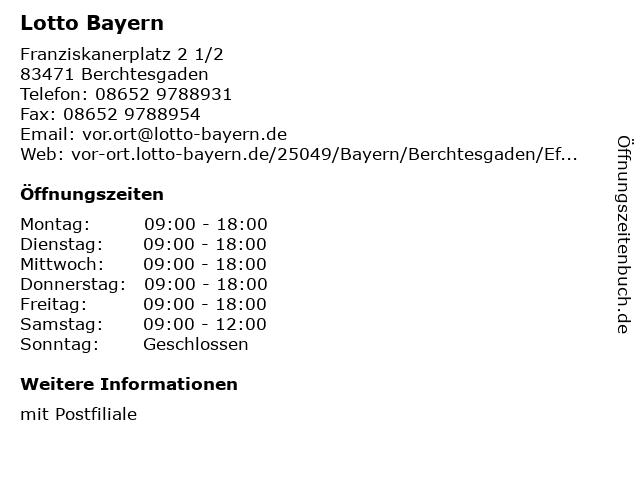 Lotto Bayern in Berchtesgaden: Adresse und Öffnungszeiten