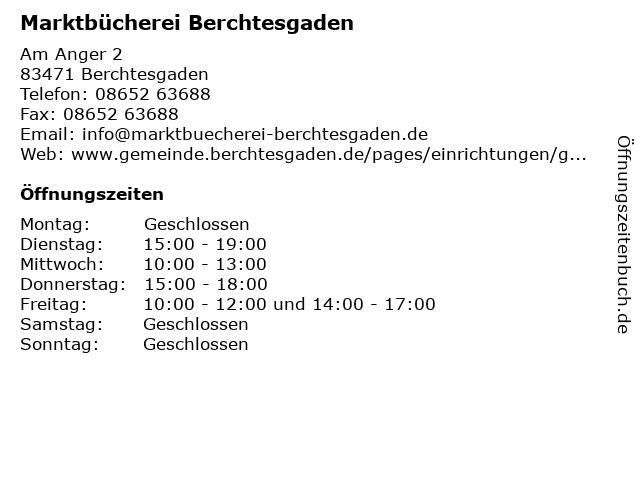 Marktbücherei Berchtesgaden in Berchtesgaden: Adresse und Öffnungszeiten
