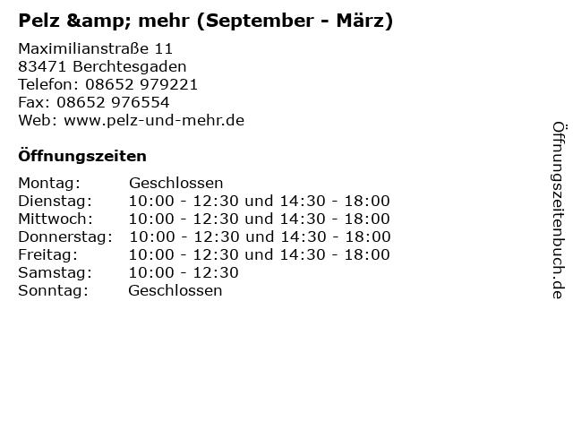 Pelz & mehr (September - März) in Berchtesgaden: Adresse und Öffnungszeiten