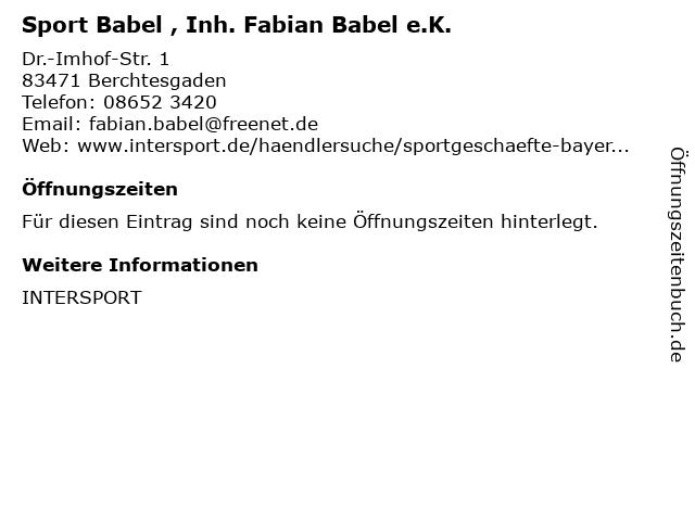 Sport Babel , Inh. Fabian Babel e.K. in Berchtesgaden: Adresse und Öffnungszeiten