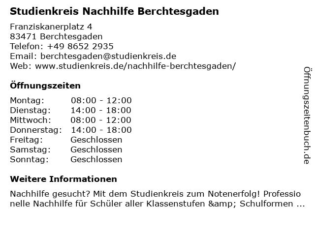 Studienkreis Nachhilfe Berchtesgaden in Berchtesgaden: Adresse und Öffnungszeiten