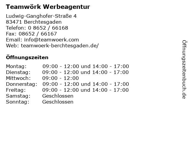 Teamwörk Werbeagentur in Berchtesgaden: Adresse und Öffnungszeiten