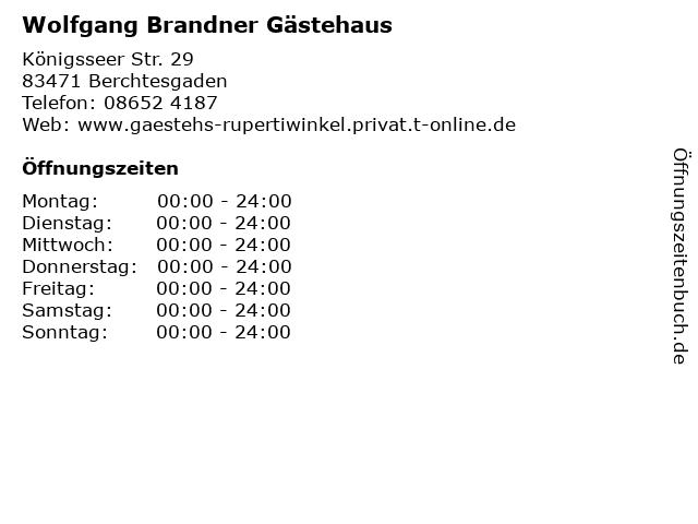 Wolfgang Brandner Gästehaus in Berchtesgaden: Adresse und Öffnungszeiten