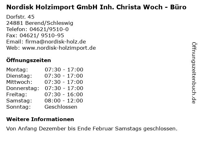 Nordisk Holzimport GmbH Inh. Christa Woch - Büro in Berend/Schleswig: Adresse und Öffnungszeiten