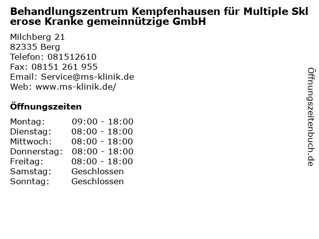Behandlungszentrum Kempfenhausen für Multiple Sklerose Kranke gemeinnützige GmbH in Berg: Adresse und Öffnungszeiten